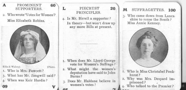 Elizabeth Robins, as author of 'Votes for Women!' featured on a card in 'The Game of the Suffragette'