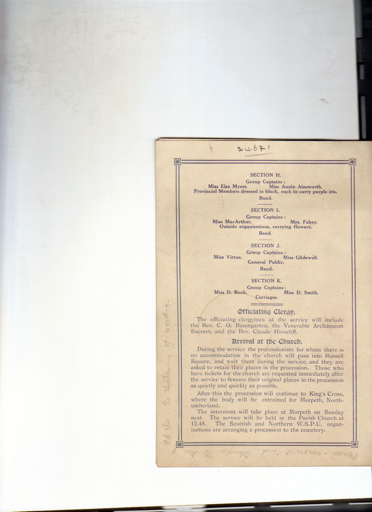 Back cover of the Emily Davison funeral procession