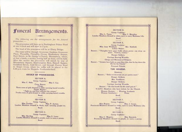 Inside pages of the programme for Emily Davison's funeral procession