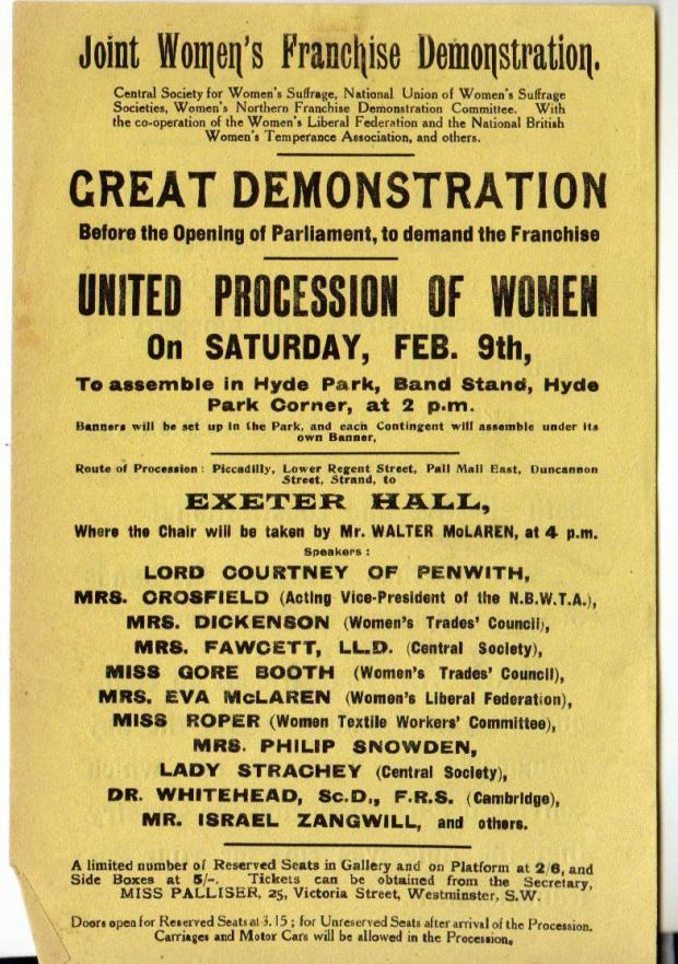 Flyer advertising the NUWSS 'Mud March'