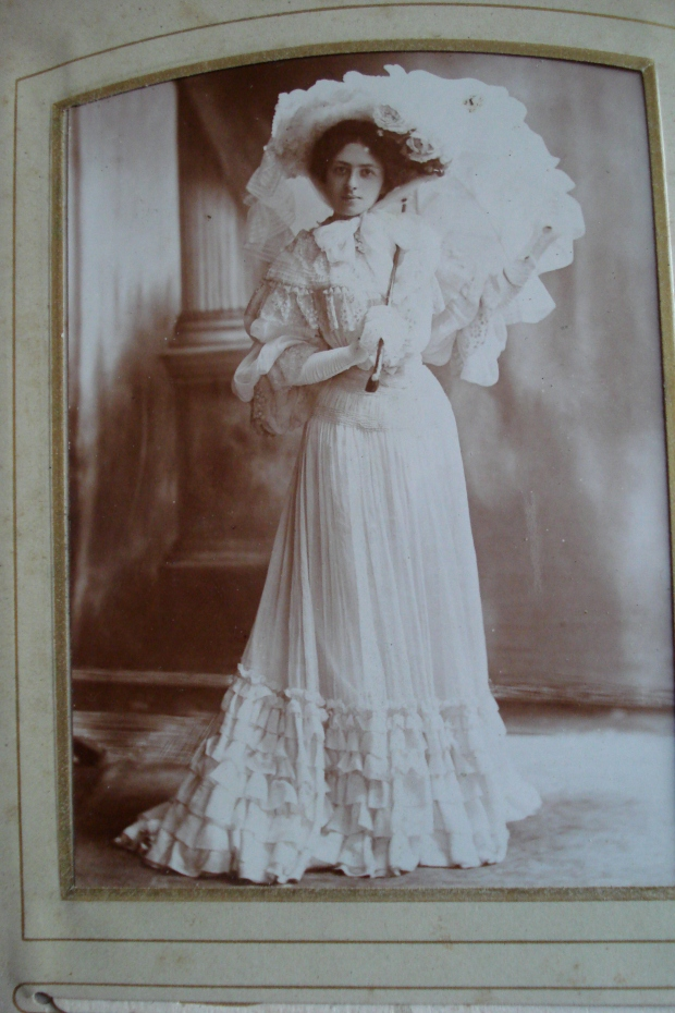 Kate Frye photographed in costume for her part in J. M. Barrie's 'Quality Street' - on tour in 1903