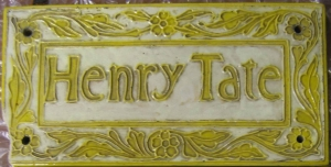 Plaque commemorating a substantial donation to the hospital by Henry Tate, industrialist and philanthropist