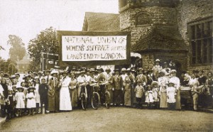 NUWSS South-West branch of the Pilgrimage photographed in 1913 as they set off from Land's End