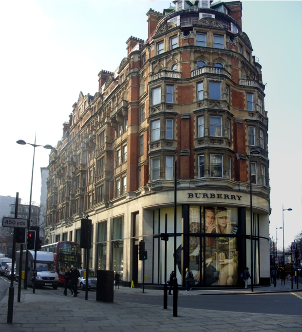 Burberry shop, Knightsbridge. The offices of the NCS were inside this building