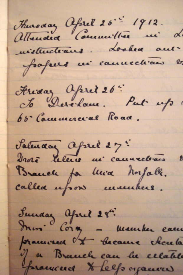 A page from the 'Organiser's Book' kept by Kate for perusal by the Committee of the NCS