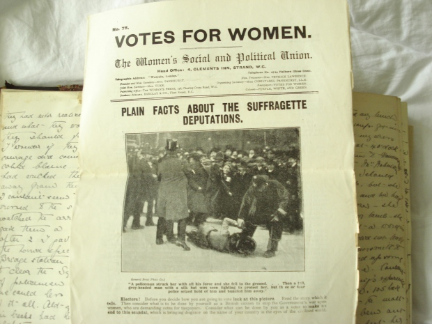 On the next page of the diary entry Kate laid in the WSPU's pamphlet prepared as a result of 'Black Friday'