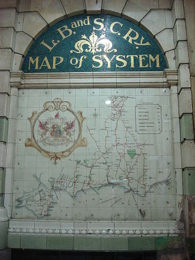 Plaque showing map of L B & S C Railway system at  Victoria Station