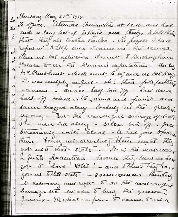 Kate's diary entry for 21 May 1914 in which she records witnessing the WSPU demonstration in front of Buckingham Palace