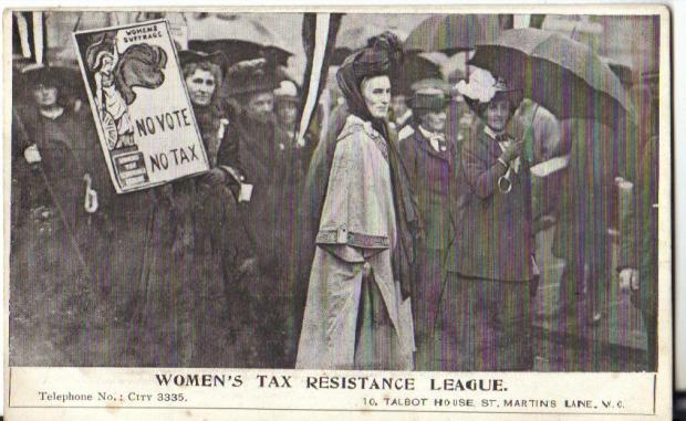 The Tax Resistance League logo - as seen on this banner - was designed by Mary Sargant Forence