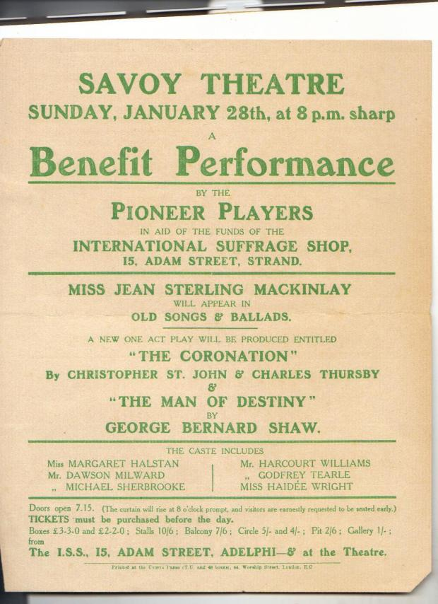 Kate Frye's copy of the flyer for the ISS Benefit Performance of 'The Coronation'