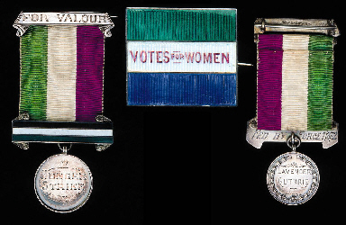 Lavendar Guthrie's Hunger Strike Medal and Votes for Women brooch, photo courtesy of Christie's