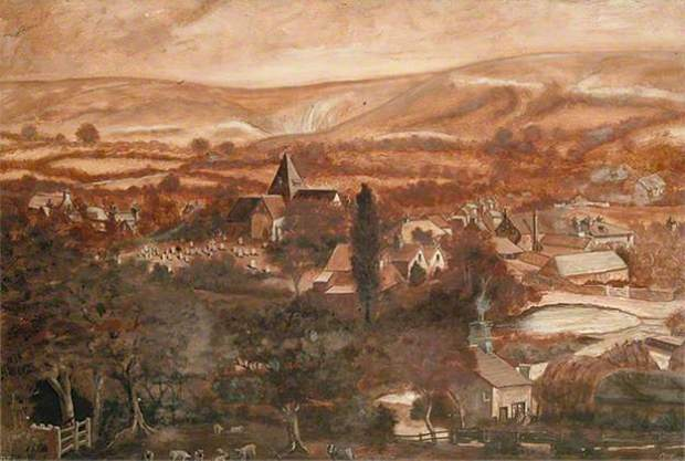 Ditchling, East Sussex, 1912 by G.D. Elms. Ditchling Museum, courtesy of Public Catalogue Foundation and BBC Yuur Paintings