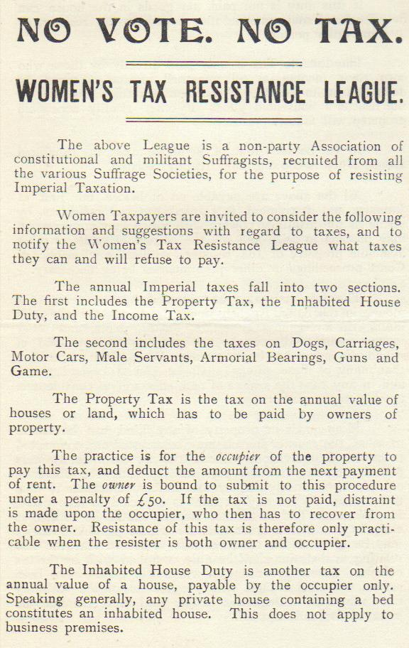 'The information given above is compiled for the Women's Tax Resistance League by Mrs Ethel Ayres Purdie, A.L.L.A., Income Tax Expert'
