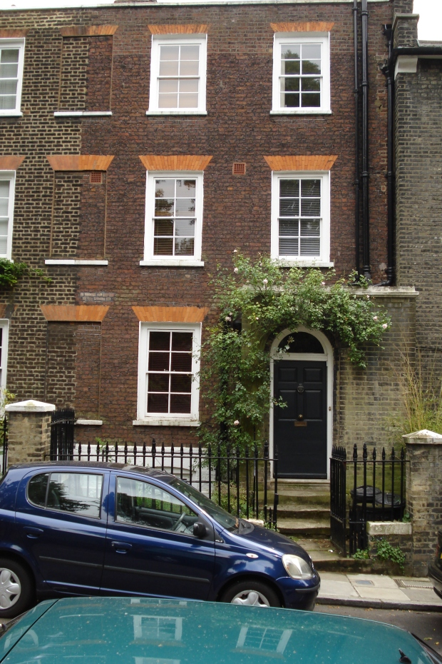 32 Well Walk, Hampstead. 'Vanishing for the Vote' reveals something of the domestic argument that went on behind this front door on Census night between Jane Brailsford and her husband, Henry.