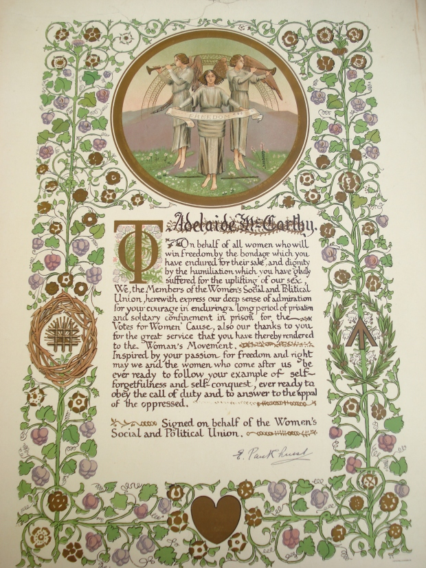 Illuminated address presented to Adelaide McCarthy
