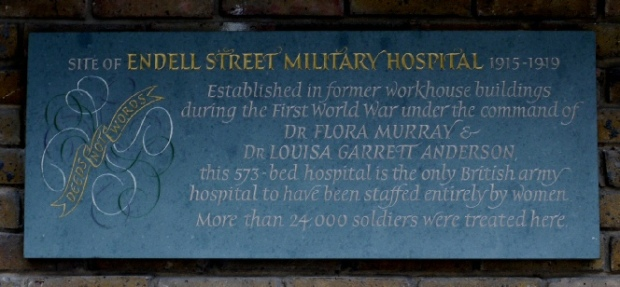 Plaque commemorating the Endell Street Military Hospital (photo courtesy of Plaques of London website)