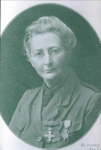 Florence Stoney, wearing the decorations she received for her service during the First World War