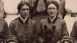Louisa Garrett Anderson (r) and Flora Murray - plus dog. (Phot0 courtesy of BBC website)
