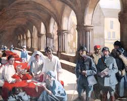 Norah Neilson-Gray. The Scottish Women's Hospital : In The Cloister of the Abbaye at Royaumont. Dr. Frances Ivens inspecting a French patient. Picture courtesy Imperial War Museum Women's Work Section