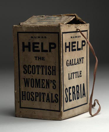 Scottish Women's Hospitals Collecting box 1914-1918. Image courtesy of National MuseumsScotland. www.nms.ac.uk