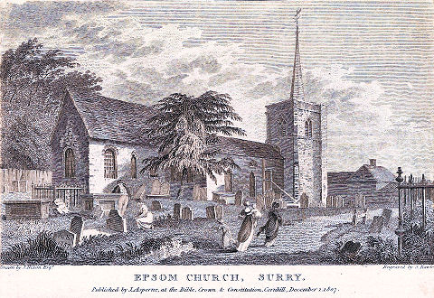 St Martin's Church 1807 Drawn by J Nixon, Engraved by S Rawle Image courtesy of Surrey Libraries and is held in the  Epsom & Ewell Local And Family History Centre. Image courtesy Epsom and Ewell History Explorer website