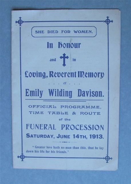 Emily wilding davison woman and her sphere ewd funeral procession programme stopboris Choice Image