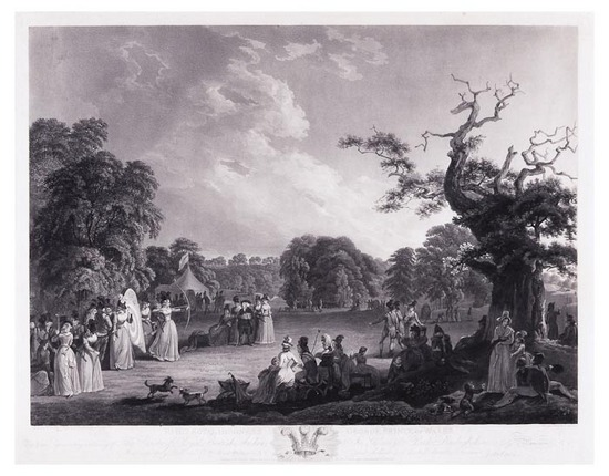 After John Emes & Robert Smirke To His Royal Highness George Prince of Wales This Plate representing a Meeting of The Society of Royal British Archers in Gwersyllt Park, Denbighshire, aquatint by Cornelis Apostool, [Siltzer p.335], 1794, John Emes. The scene illustrates the popularity of the Royal British Archers, or Royal Toxophilite Society, amongst women (albeit only of a high social standing) as one of the few sports in which they compete at all, let alone on equal terms. The original painting is in the British Museum, the landscape being the work of Robert Emes, who also published the print, while the figures were painted by Robert Smirke. Retrieved from http://www.bloomsburyauctions.com/detail/13420/1154.0. Image and caption courtesy of A toxophilite - Mary de Crespigny née Clarke (1749 - 1812) see http://ayfamilyhistory.blogspot.co.uk/