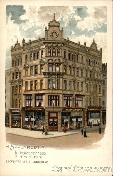Appenrodt's flagship restaurant at 1 Coventry Street, London (courtesy of CardCow.com)
