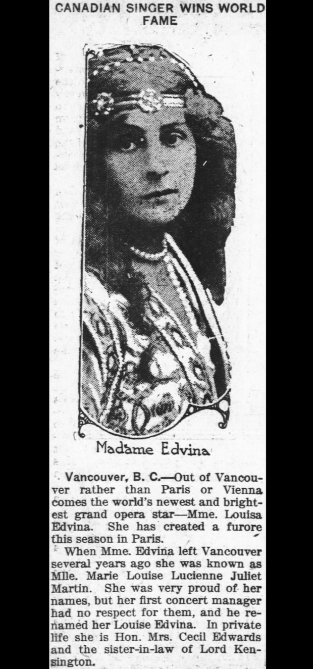 Louise Edvina (image courtesy of Past Tense Vancouver Histories website)