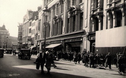 The Lyons Corner House in Coventry Street. The Criterion Theatre is just out of view in the left of the photo. This picture dates from many years after Kate's July 1914 visit - but gives us an orientation on her world
