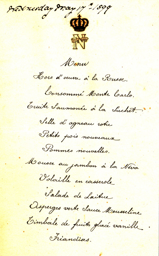 A menu for a dinner at the Cafe Royal during the Fryes' glory days