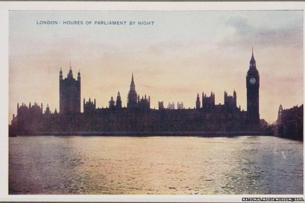 The view that Kate had of the Houses of Parliament. A colour photograph taken in the evening in 1914 (Courtesy of the National Army Museum/BBC News websites)