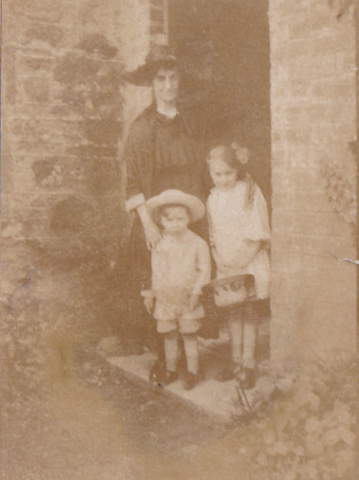 My widowed grandmother, with my mother and her brother, in the doorway of their Falkland cottage