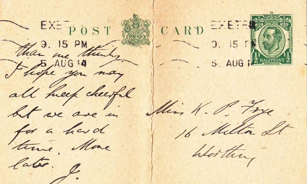Johns's card, written on Wed 4 Aug and posted on 5 August from Exeter, where he was playing with a touring theatre company
