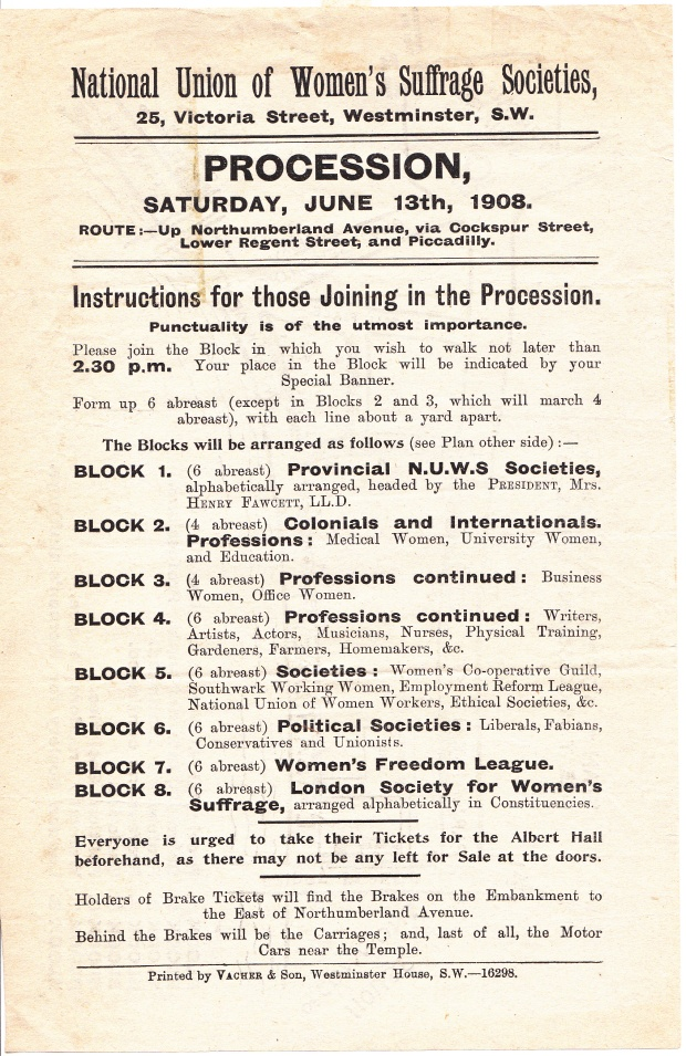 Instructions NUWSS procession June 1908