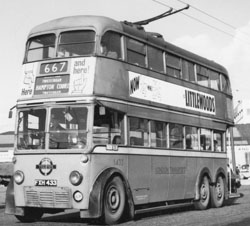 By way of a detour and for my younger readers - the 667 trolleybus en route from Twickenham to Hampton Court
