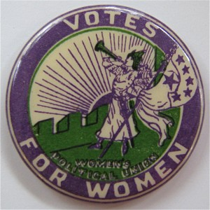 'Bugler Girl' Women's Political Union badge (image courtesy of Ken Florey's Woman Suffrage Memorabilia website)