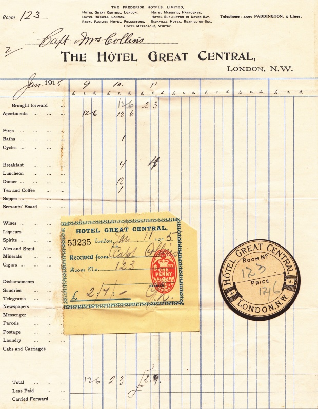 The bill for Kate's two nights of honeymoon - together with the identification number of their room. Although these items were not inserted into the diary, Kate kept them with her other papers for the rest of her life.