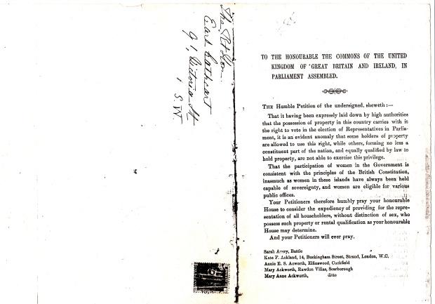 First page of the 1866 women's suffrage petition