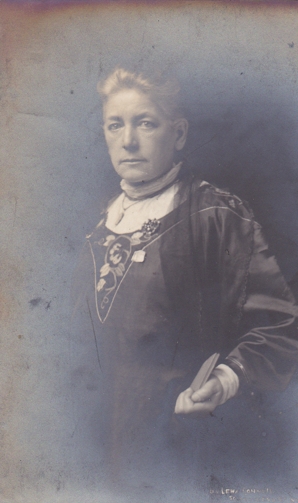 Sarah Benett, sometime treasurer of the WFL, wearing her WFL 'Holloway' brooch