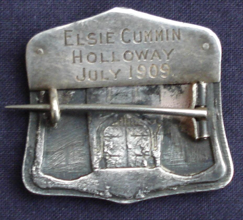 The reverse of Elsie Cummin's Holloway brooch