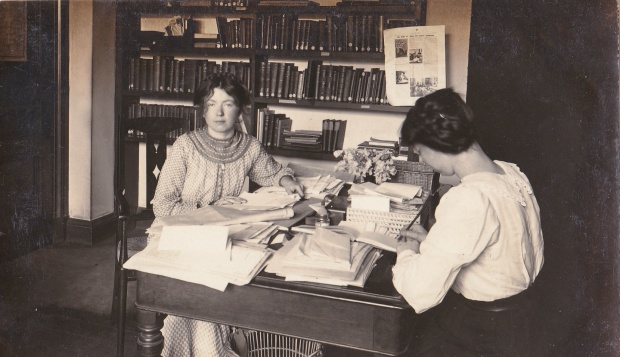 Christabel Pankhurst photographed in her office in Clement's Inn