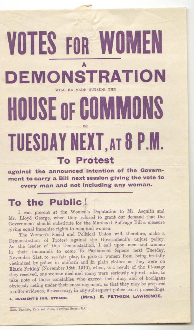 WSPU invitation to demonstrate outside the House of Commons on Tuesday 21 Nov 1911