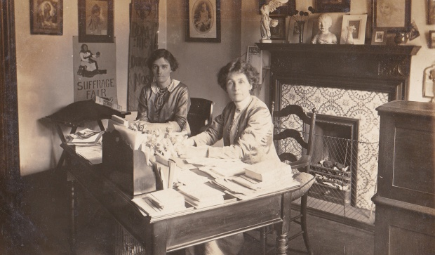 Mrs Emmeline Pankhurst and Mrs Mabel Tuke photographed in Mrs Pankhurst's office in Clements Inn