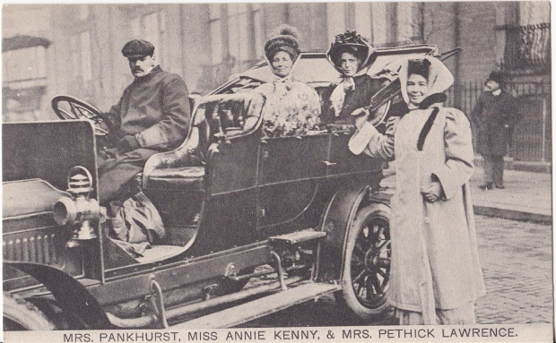 Emmeline Pankhurst, Emmeling Pethick-Lawrence and Annie Kenney photographed in the WSPU car