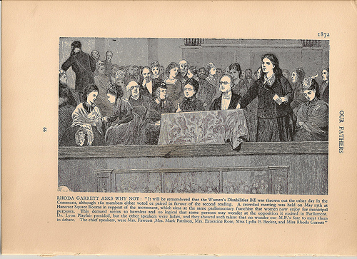Rhoda Garrett speaking at a suffrage meeting at the Hanover Rooms, London, 1870