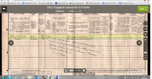 1911 census form for Miss Sophia Adelaide Turle (courtesy of The National Archives and Ancestry.co.uk)