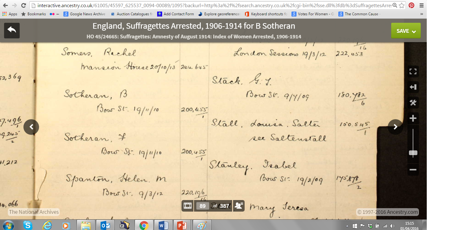 Entry for the Sotheran sisters in the 'England - Suffragettes Arrested 1906-1914' (courtesy of The National Archives and Ancestry.co.uk)