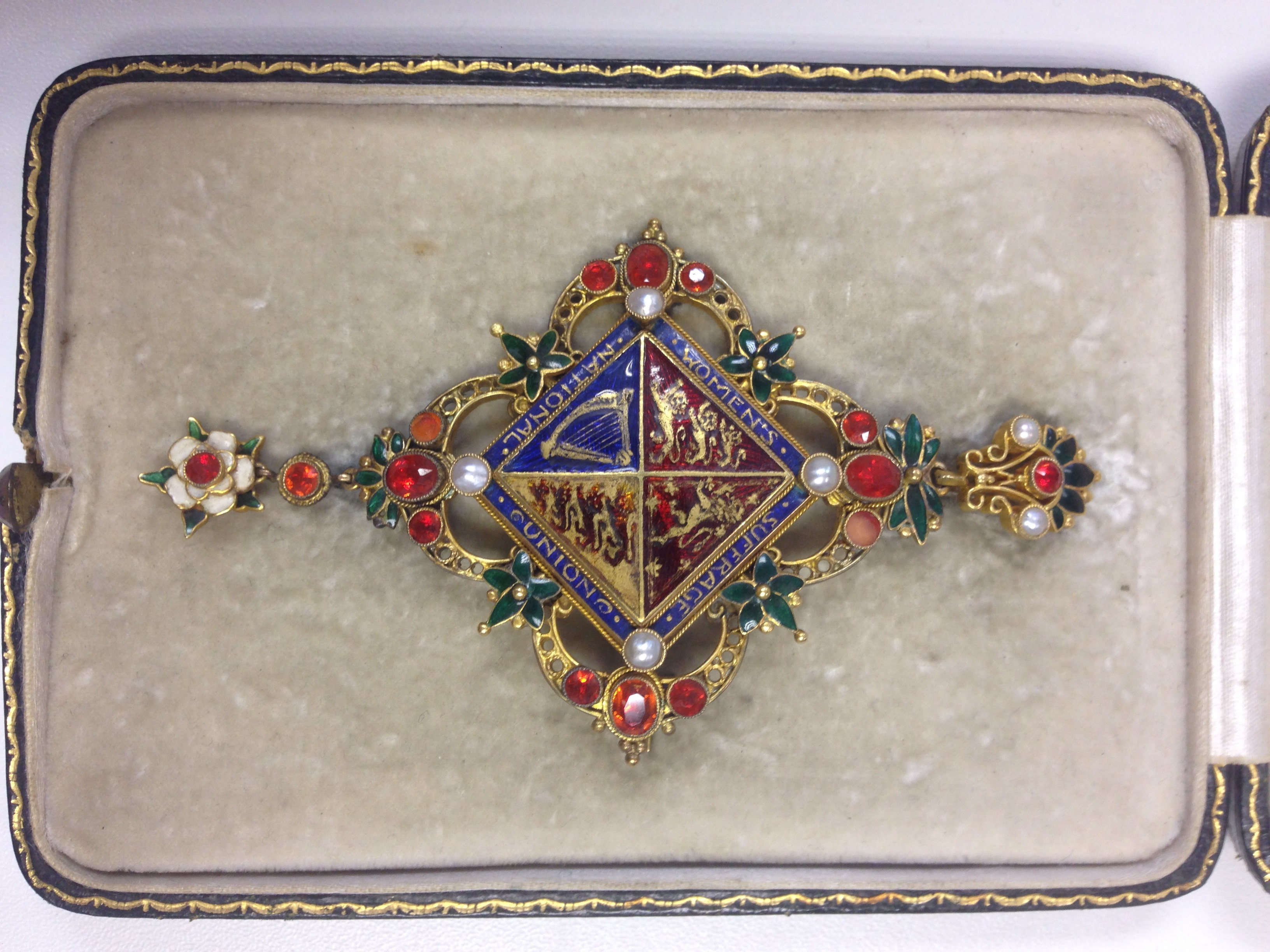 Brooch presented by the NUWSS to Millicent Fawcett in 1913 (image courtesy of the Fawcett Society)